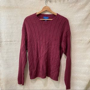 Towncraft Maroon Ribbed Knit Sweater
